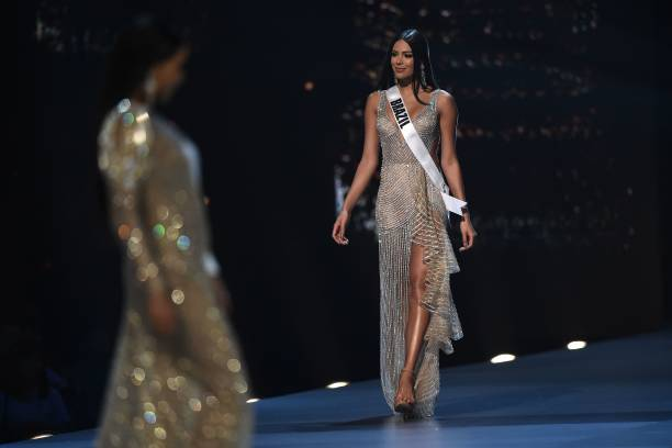 Mayra Dias of Brazil competes in the evening gown competition during the 2018 Miss Universe pageant in Bangkok on December 13 2018
