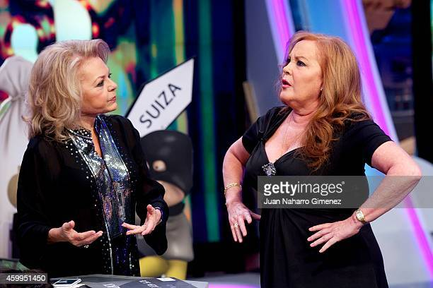 Mayra Gomez Kemp and Fedra Lorente aka La Bambi attend 'El Hormiguero' Tv show at Vertice Studio on December 4 2014 in Madrid Spain