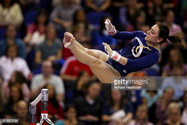 Mayra Kroonen of the Netherlands competes in the uneven bars during the Women's All Round Final on the fourth day of the Artistic Gymnastics World...