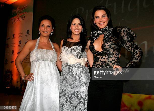 Mayra Rojas Andrea Marti and Gabriela Vergara pose during the presentation of the first chapter of Profulgas del Destino soap opera at Ambrosia...