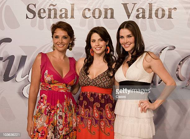 Mayra Rojas Andrea Marti and Gaby Vergara pose for a photograph during the presentation of the soap opera Profugas Del Destino at the facilities of...