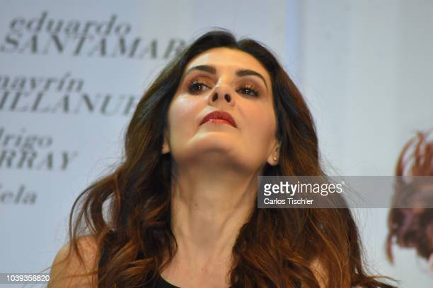 Mayrin Villanueva looks on during a press conference to promote the theater play 'La Verdad' at Xola Theather on September 17 2018 in Mexico City...