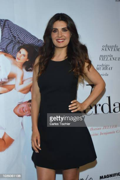 Mayrin Villanueva poses during a press conference to promote the theater play 'La Verdad' at Xola Theather on September 17 2018 in Mexico City Mexico