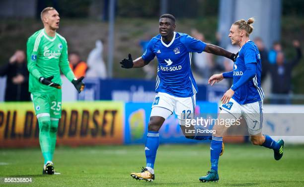 Mayron George and Jesper Christjansen of Lyngby BK celebrates after scoring their first goal during the Danish Alka Superliga match between Lyngby BK...