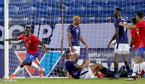 Mayron George of Costa Rica celebrates after scoring a goal against Bermuda during the first half of the Costa Rica v Bermuda: Group B - 2019...