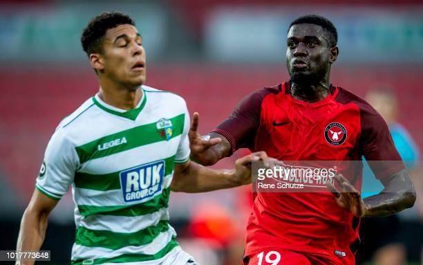 Mayron George of FC Midtjylland and Dean Ebbe of New Saints FC the UEFA Europa League Qual match between FC Midtjylland and The New Saints at MCH...