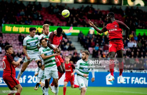 Mayron George of FC Midtjylland and Paul Onuachu of FC Midtjylland in fight of the ball in the UEFA Europa League Qual match between FC Midtjylland...