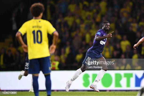 Mayron George of FC Midtjylland celebrates after scoring their first goal during during the Danish Superliga match between Brondby IF and FC...
