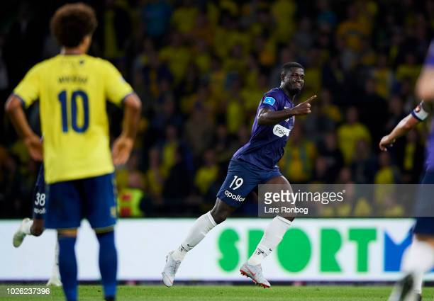 Mayron George of FC Midtjylland celebrates after scoring their first goal during the Danish Superliga match between Brondby IF and FC Midtjylland at...