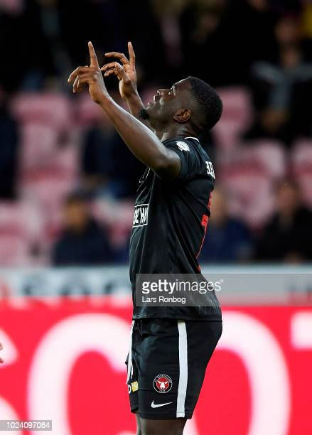 Mayron George of FC Midtjylland celebrates after scoring their third goal during the Danish Superliga match between FC Midtjylland and Randers FC at...