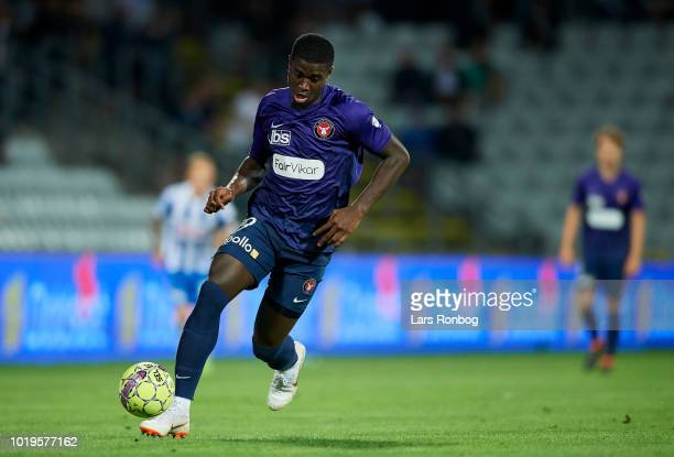 Mayron George of FC Midtjylland controls the ball during the Danish Superliga match between OB Odense and FC Midtjylland at Nature Energy Park on...