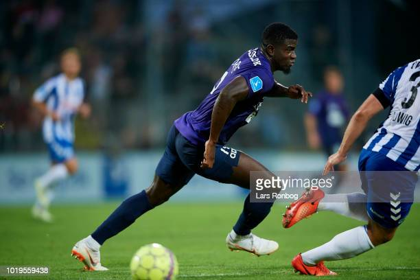 Mayron George of FC Midtjylland in action during the Danish Superliga match between OB Odense and FC Midtjylland at Nature Energy Park on August 19...