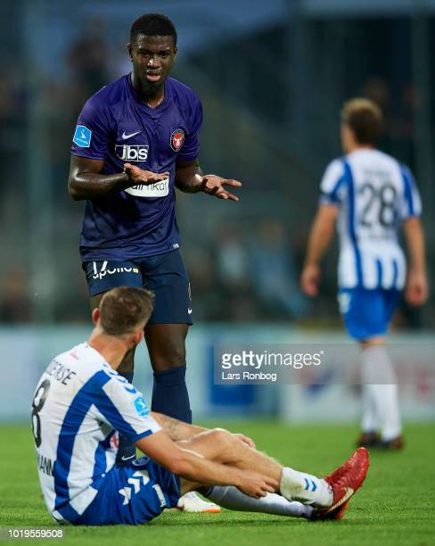 Mayron George of FC Midtjylland reacts followed a fight with Janus Drachmann of OB Odense during the Danish Superliga match between OB Odense and FC...