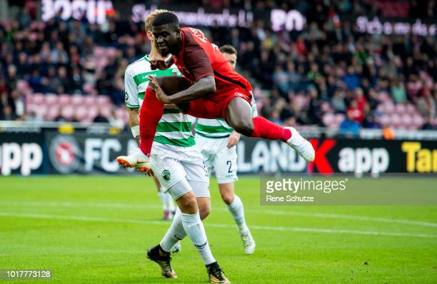 Mayron George of FC Midtjylland the UEFA Europa League Qual match between FC Midtjylland and The New Saints at MCH Arena on August 16 2018 in Herning...