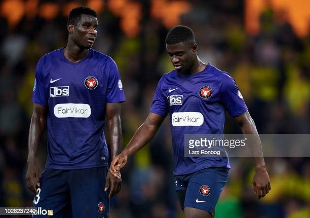 Mayron George of FC Midtjylland walks off the pitch after receiving a red card from referee Jakob Kehlet during the Danish Superliga match between...
