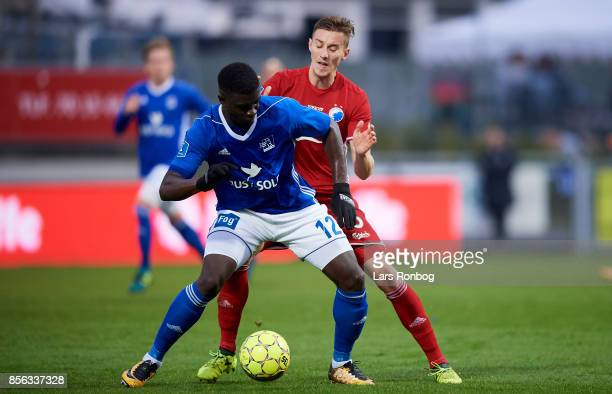 Mayron George of Lyngby BK and Jan Gregus of FC Copenhagen compete for the ball during the Danish Alka Superliga match between Lyngby BK and FC...