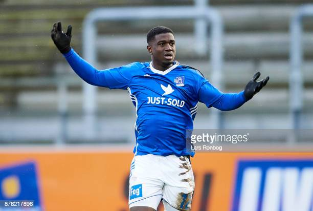 Mayron George of Lyngby BK celebrates after scoring their first goal during the Danish Alka Superliga match between Lyngby BK and Randers FC at...