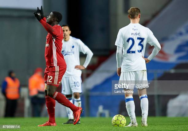 Mayron George of Lyngby BK celebrates after scoring their first goal during the Danish Alka Superliga match between FC Copenhagen and Lyngby BK at...