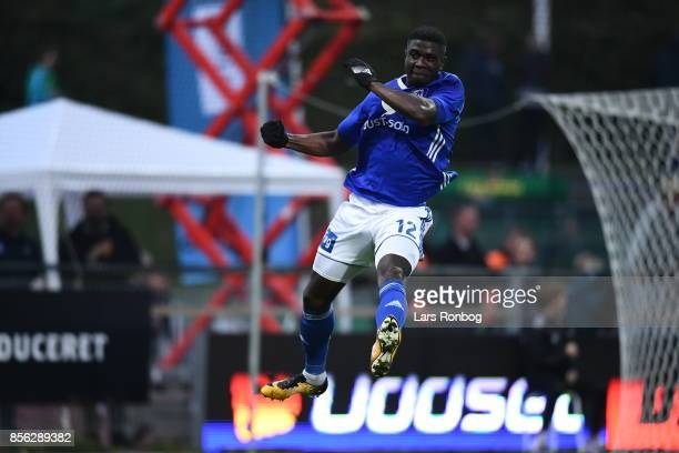 Mayron George of Lyngby BK celebrates after scoring their second goal during the Danish Alka Superliga match between Lyngby BK and FC Copenhagen at...