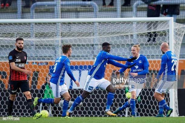 Mayron George of Lyngby BK celebrates after scoring their second goal during the Danish Alka Superliga match between Lyngby BK and FC Midtjylland at...