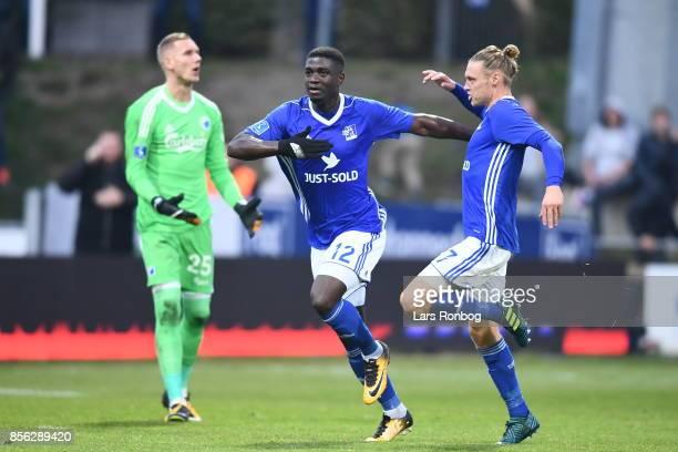 Mayron George of Lyngby BK celebrating with Jesper Christjansen after scoring the 20 goal during the Danish Alka Superliga match between Lyngby BK...