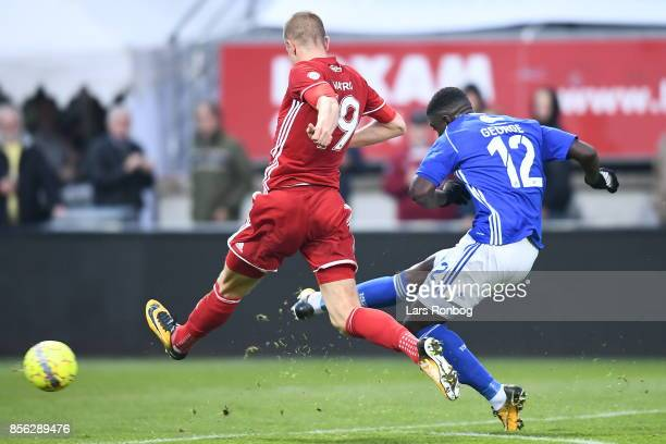 Mayron George of Lyngby BK scores the 20 goal during the Danish Alka Superliga match between Lyngby BK and FC Copenhagen at Lyngby Stadion on October...