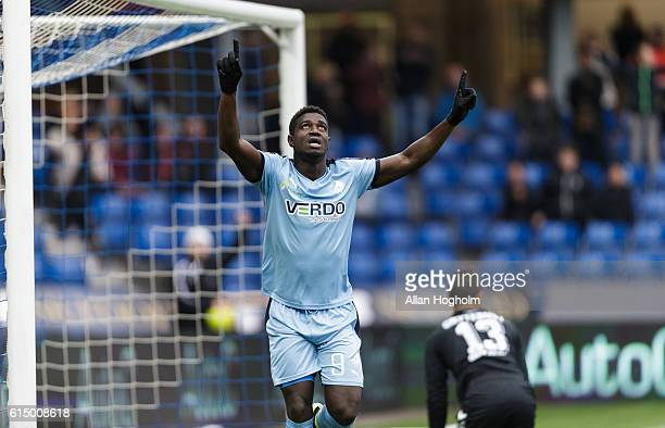 Mayron George of Randers FC celebrates after scoring their first goal during the Danish Alka Superliga match between Randers FC and OB Odense at...