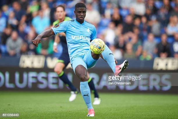 Mayron George of Randers FC controls the ball during the Danish Alka Superliga match between Randers FC and Brondby IF at BioNutria Park Randers on...