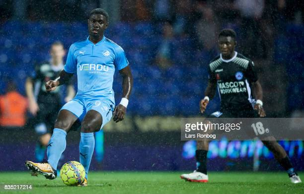 Mayron George of Randers FC controls the ball during the Danish Alka Superliga match between Randers FC and Silkeborg IF at BioNutria Park on August...