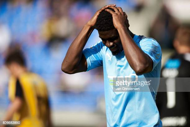 Mayron George of Randers FC looks dejected after a missed goal during the Danish Alka Superliga match between Hobro IK and Randers FC at DS Arena on...