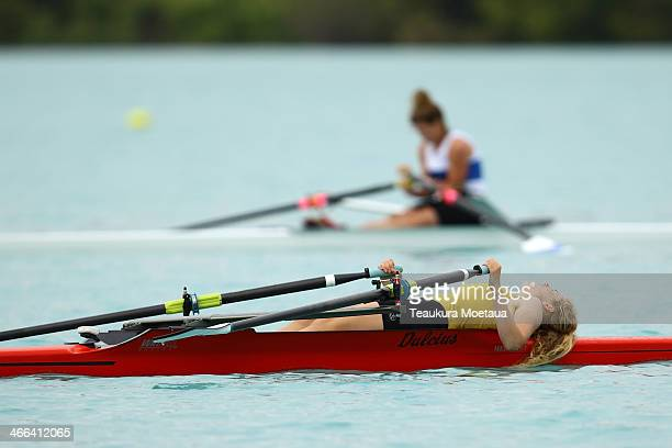 Maysie Scott of Oamaru finishes the Womans under19 single sculls final during the South Island Club Championships at Lake Ruataniwha on February 2...