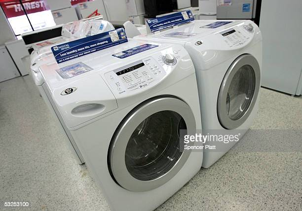Maytag washer is displayed in a store July 18, 2005 in New York City. Whirlpool on Sunday offered to buy Maytag, the maker of Hoover vacuum cleaners...