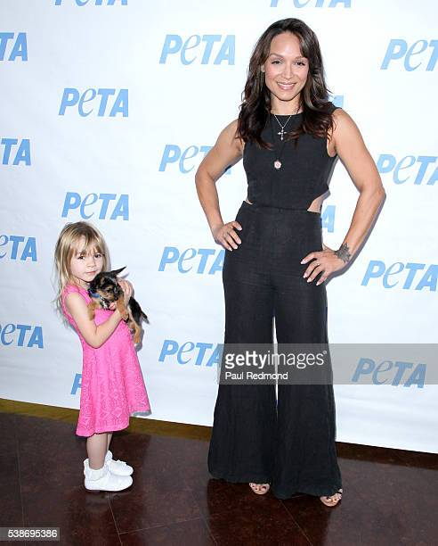 Mayte Garcia and daughter Gia Garcia attend the LA Launch Party for Prince's PETA Song at PETA on June 7 2016 in Los Angeles California