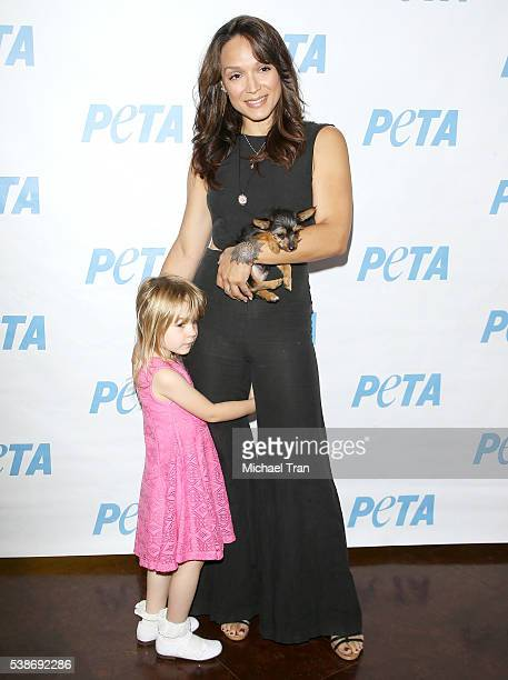 Mayte Garcia and her daughter Gia Garcia attend the Los Angeles launch event for Prince's PETA song held at PETA on June 7 2016 in Los Angeles...