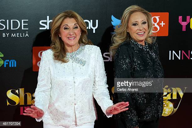 Mayte Mateos and Mara Mendiola of Baccara attend the Shangay Pride concert at the Vicente Calderon stadium on July 4 2014 in Madrid Spain