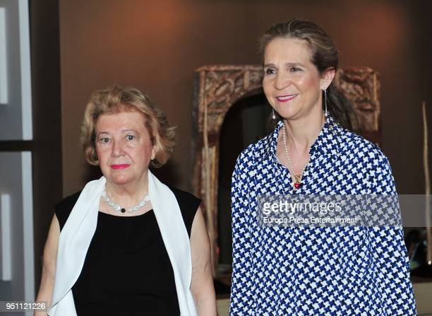 Mayte Spinola and Princess Elena attend the 2017 Mayte Spinola Golden Medals Award on February 27 2018 in Madrid Spain