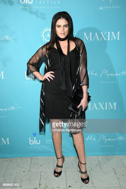 Maytee Martinez attends the Maxim December Miami Issue Party Presented by blu on December 8 2017 in Miami Beach Florida