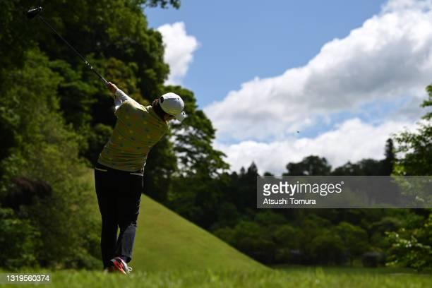 Mayu Hamada of Japan hits her tee shot on the 7th hole during the final round of the Chukyo TV Bridgestone Ladies Open at Chukyo Golf Club Ishino...