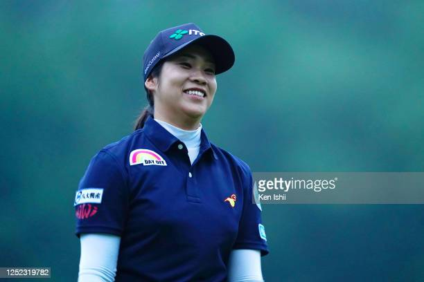 Mayu Hamada of Japan smiles after holing out on the 9th green during the first round of the Earth Mondamin Cup at the Camellia Hills Country Club on...