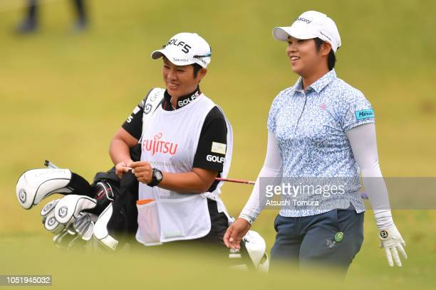 Mayu Hamada of Japan smiles during the first round of the Fujitsu Ladies at Tokyu Seven Hundred Club on October 12 2018 in Chiba Japan