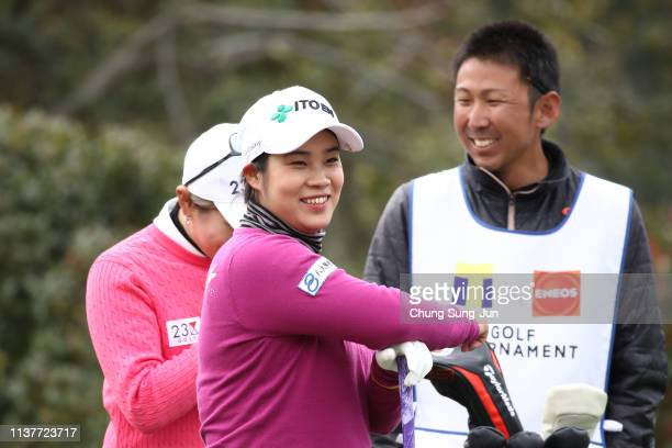 Mayu Hamada of Japan smiles on the 2nd hole during the second round of the TPoint x ENEOS Golf Tournament at Ibaraki Kokusai Golf Club on March 23...