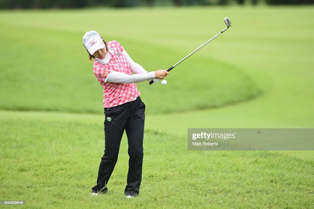 Mayu Hattori of Japan chips onto the 18th green during the first round of the CAT Ladies Golf Tournament HAKONE JAPAN 2017 at the Daihakone Country Club on August 18, 2017 in Hakone, Kanagawa, Japan.