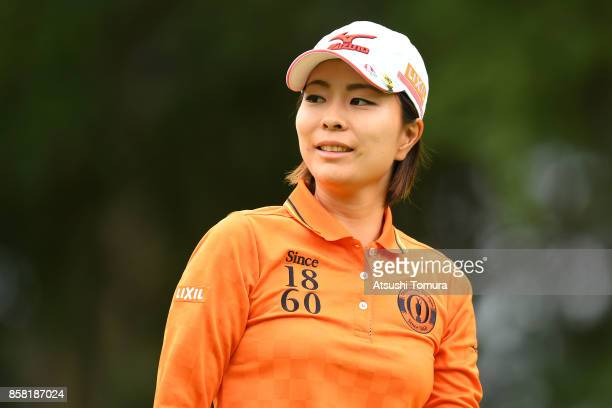Mayu Hattori of Japan smiles during the first round of Stanley Ladies Golf Tournament at the Tomei Country Club on October 6, 2017 in Susono,...