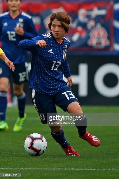 Mayu Ikejiri of Japan plays during the 2019 SheBelieves Cup match between Brazil and Japan at Nissan Stadium on March 2 2019 in Nashville Tennessee