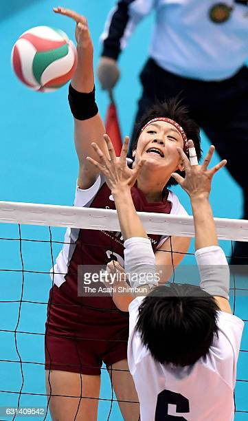 Mayu Ishikawa of Shimokitazawa Seitoku spikes the ball during the 69th All Japan Volleyball High School Championships Women's final match between...