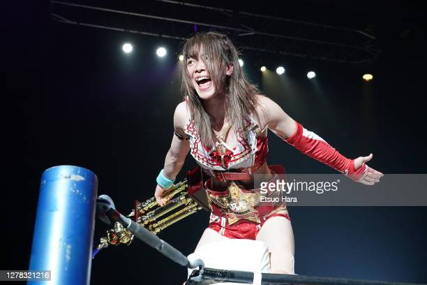 Mayu Iwatani celebrates her victory during the Women's ProWrestling 'Stardom' Yokohama Cinderella at the Yokohama Budokan on October 03 2020 in...