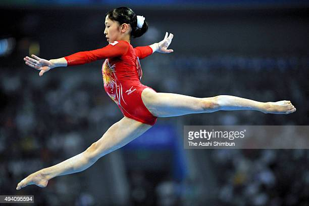 Mayu Kuroda of Japan competes in the Balance Beam during the artistic gymnastics at the National Indoor Stadium during day two of the 2008 Beijing...