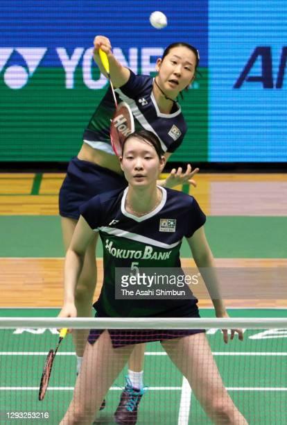 Mayu Matsumoto and Wakana Nagahara compete in the Women's Doubles semi final against Ayako Sakuramoto and Yukiko Takahata on day five of the 74th All...