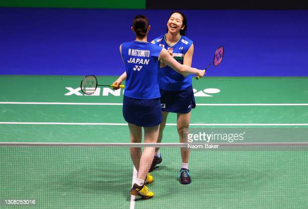 Mayu Matsumoto and Wakana Nagahara Japan celebrate match point after their victory in the Women's Double final during day five of YONEX All England...