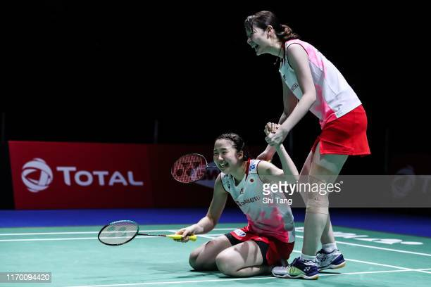 Mayu Matsumoto and Wakana Nagahara of Japan celebrate the victory in the Women's Double final match against Yuki Fukushima and Sayaka Hirota of Japan...